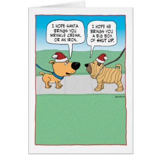 Navidad arrugado divertido del perro tarjeta de felicitación