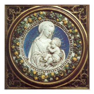 Navidad azul de la gema de la CORONA FLORAL de la Invitación 13,3 Cm X 13,3cm
