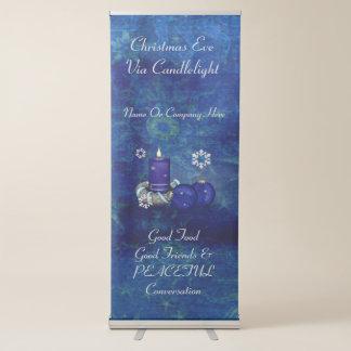 Navidad azul de la vela pancarta retráctil