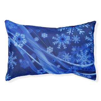 Navidad azul de los copos de nieve del invierno cama para mascotas