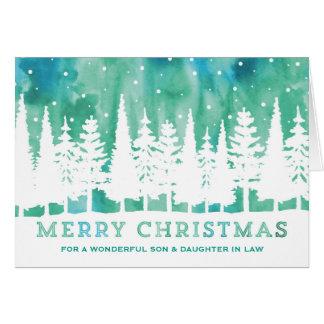 Navidad azul del hijo y de la nuera de la acuarela tarjeta de felicitación