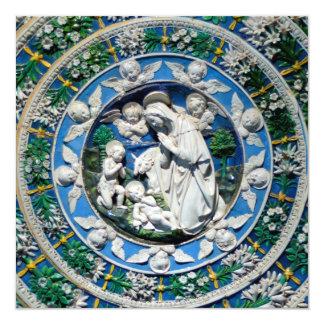 Navidad azul del zafiro de MADONNA, del NIÑO Y de Invitación 13,3 Cm X 13,3cm