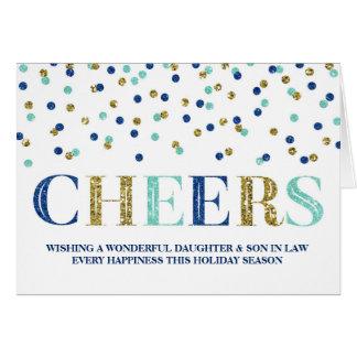Navidad azul hija y yerno del confeti del oro tarjeta de felicitación