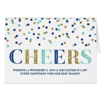 Navidad azul hijo y nuera del confeti del oro tarjeta de felicitación