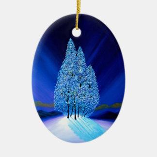 Navidad azul siete de los árboles Spruce Adorno Navideño Ovalado De Cerámica