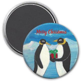 Navidad B grande, imán redondo del pingüino de 3