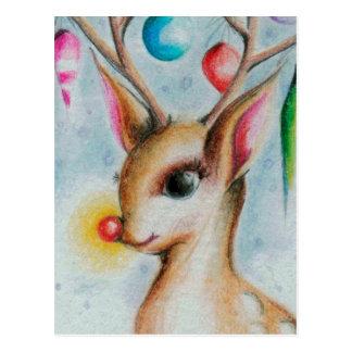 Navidad Bambi del vintage Postal