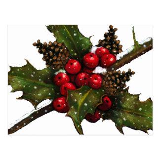 Navidad: Bayas, acebo, conos del pino: Arte Postal