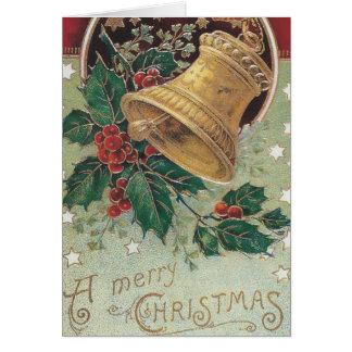 Navidad Bell del vintage con acebo Tarjeta De Felicitación