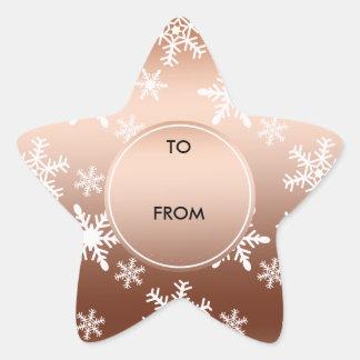 Navidad blanco de los copos de nieve del oro pegatina forma de estrella personalizadas