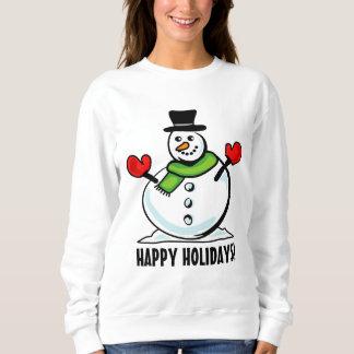 Navidad blanco lindo del muñeco de nieve buenas sudadera