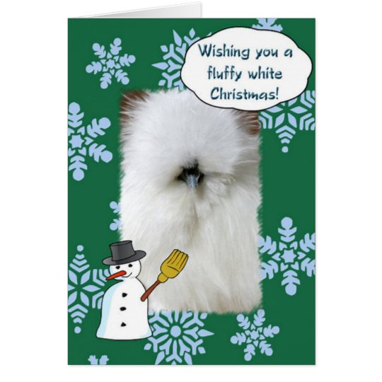 Navidad blanco mullido tarjeta pequeña