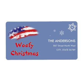 Navidad blanco rojo de Woofy de la bandera azul de Etiquetas De Envío