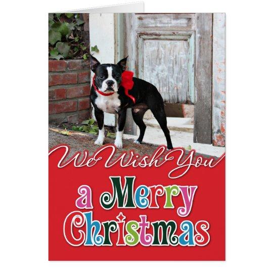 Navidad - Boston Terrier - millas Tarjeta De Felicitación