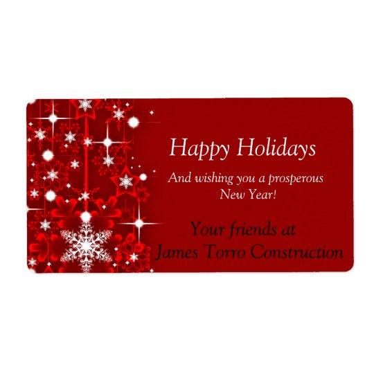 Navidad, buenas fiestas etiqueta del vino etiquetas de envío