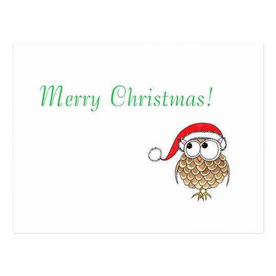 Navidad-búho, postal de las Felices Navidad
