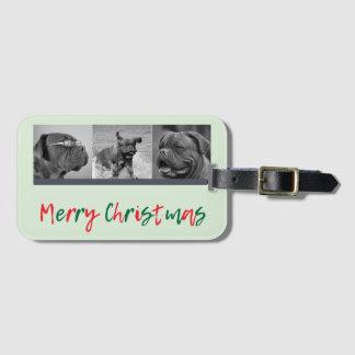 Navidad capa roja de 3 de la foto del verde de etiqueta para maletas