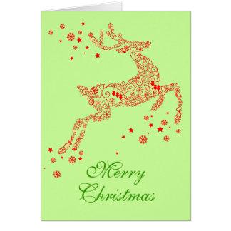 Navidad caprichoso del arte moderno del reno de la felicitaciones