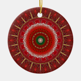 Navidad carmesí adorno redondo de cerámica