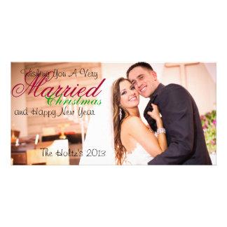 Navidad casado tarjeta fotográfica personalizada