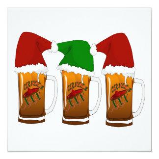 Navidad Cerveza de los amigos de Tres Invitación 13,3 Cm X 13,3cm