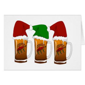 Navidad Cerveza de los amigos de Tres Tarjeta De Felicitación