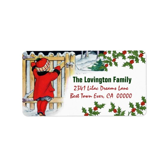 Navidad chica y acebo del vintage etiquetas de dirección