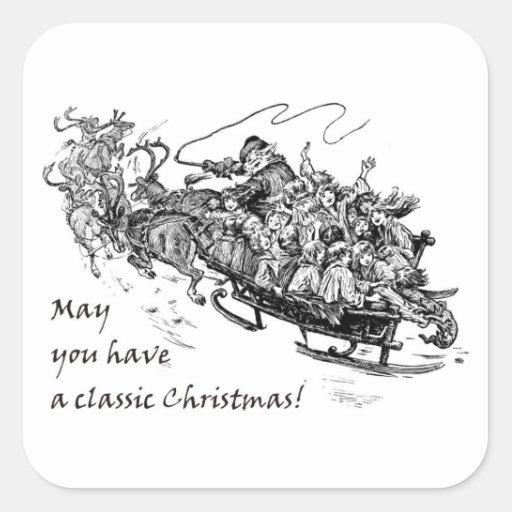 Navidad clásico: Santa, reno y trineo Calcomania Cuadrada Personalizada