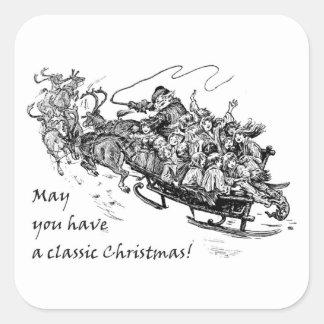 Navidad clásico: Santa, reno y trineo Pegatina Cuadrada