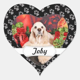 Navidad - cocker - Toby, Havanese - poco T Pegatina En Forma De Corazón