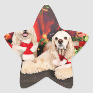 Navidad - cocker - Toby, Havanese - poco T Pegatina En Forma De Estrella