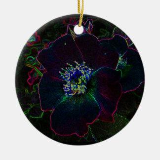 Navidad color de rosa eléctrico adorno redondo de cerámica