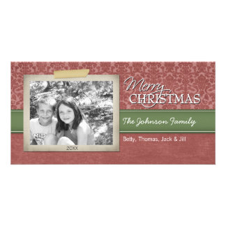Navidad - con la frontera de la foto del vintage - tarjetas personales