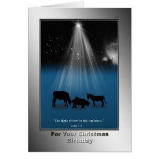 Navidad, cumpleaños, religioso, tarjeta de la nati
