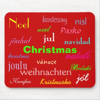 Navidad de alrededor del mundo en rojo alfombrilla de ratón