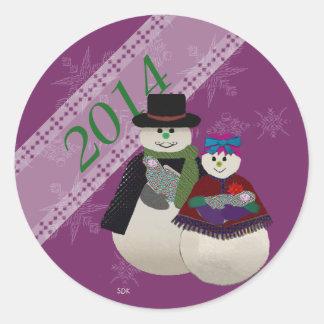 Navidad de Babys del gemelo del muñeco de nieve Pegatina Redonda