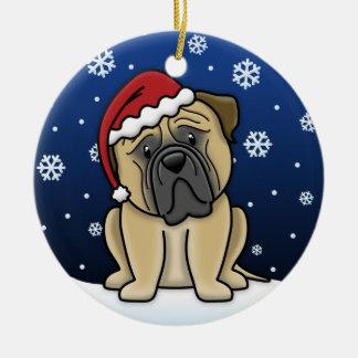 Navidad de Bullmastiff del dibujo animado de Adorno Redondo De Cerámica