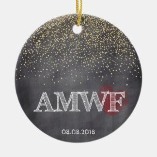 Navidad de encargo del confeti AMWF de la pizarra Adorno De Cerámica