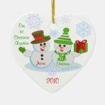 Navidad de encargo del par de la foto y del texto adorno de navidad