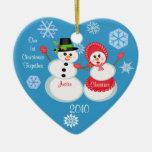 Navidad de encargo del par de la foto y del texto ornamentos de navidad