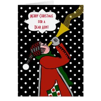 Navidad de encargo para la tía, trompeta en nieve tarjeta de felicitación