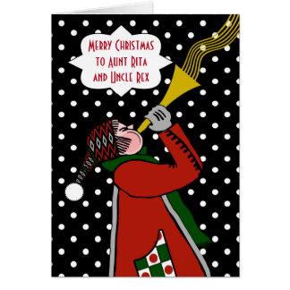 Navidad de encargo para la tía y el tío, trompeta tarjeta de felicitación