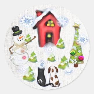 Navidad de encargo perro y pegatinas de la pegatina redonda