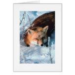 Navidad de encargo que saluda el Fox de la nieve Tarjetas