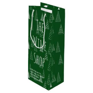 Navidad de encargo verde y blanco bolsa para vino