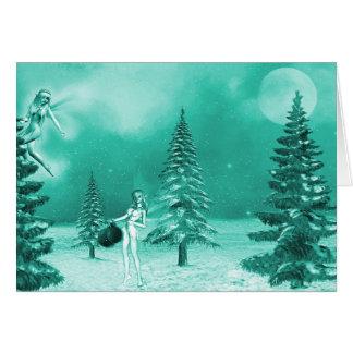 Navidad de hadas que adorna verde de la tarjeta