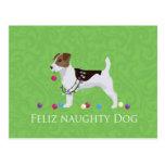 Navidad de Jack Russell Terrier Feliz Naughty Dog Postal