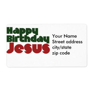 Navidad de Jesús del feliz cumpleaños Etiquetas De Envío