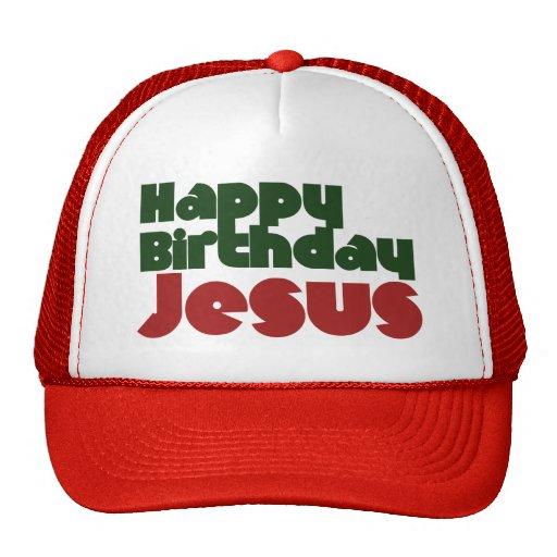 Navidad de Jesús del feliz cumpleaños Gorras