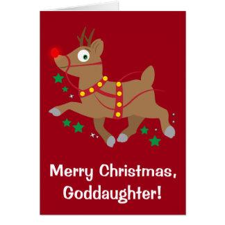 Navidad de la ahijada con el reno con la nariz tarjeta de felicitación